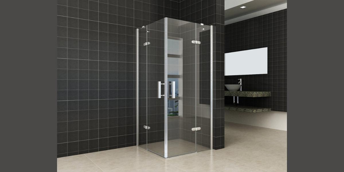 Corner shower cabin with revolving doors