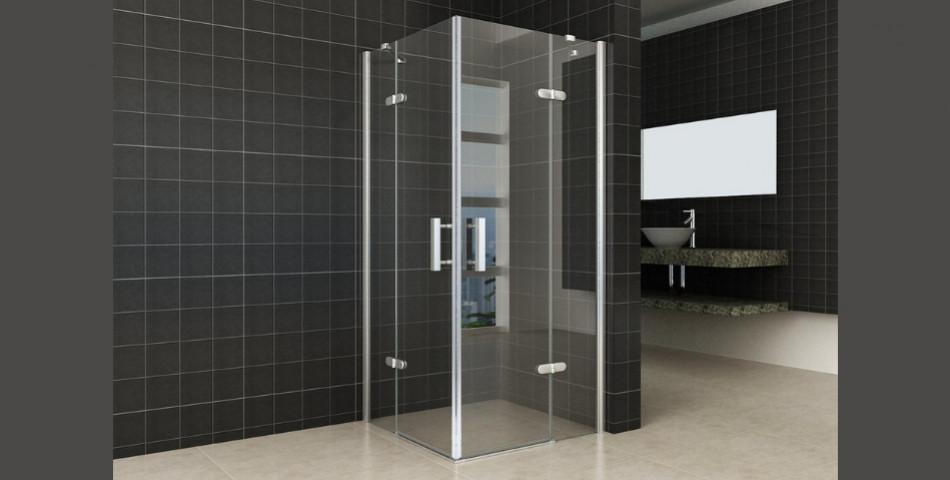 Corner Shower Cabin With Revolving Doors Bathroom Design