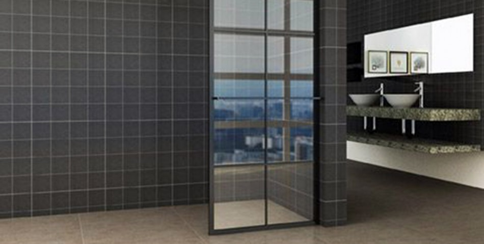Taira walk-in shower black grid with towel holder