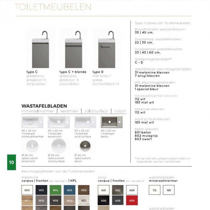 Color & Specification Summary