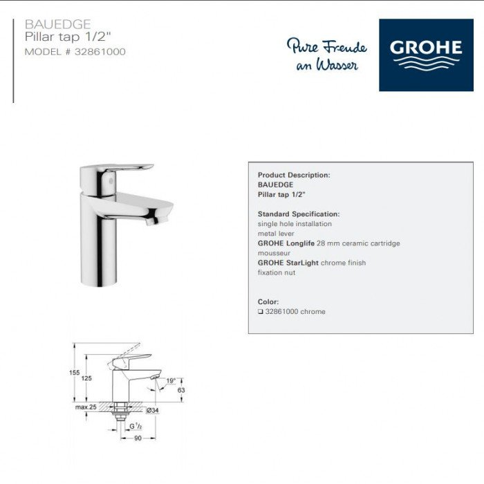 Product specification sheet