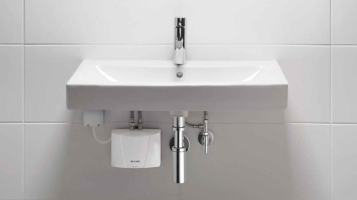 MBH – installation and mounting of the mini instant water heater at a washbasin.