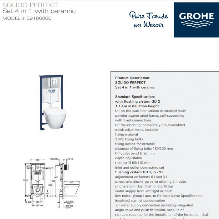 GROHE Solido Specification Sheet