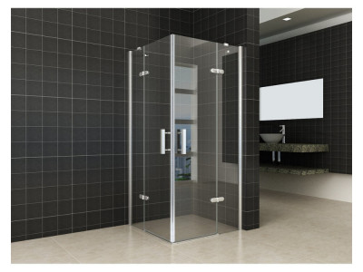 Corner shower cabin with revolving doors - Corner Shower Cabin With Revolving Doors | Bathroom Design Curacao