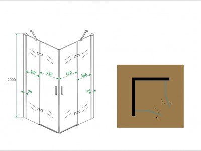 Corner shower cabin with revolving doors - 20.3846