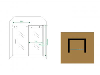Sliding door for niche - 1200mm