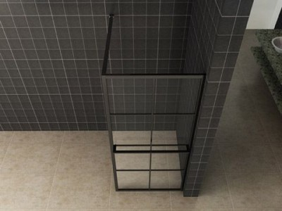 Taira walk-in shower black grid with towel holder - 20.3961_1