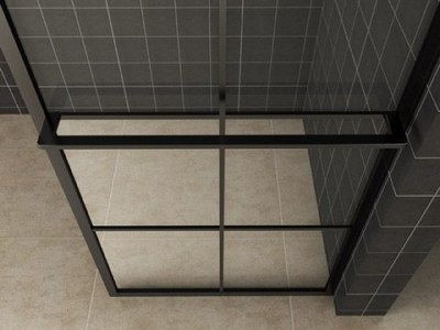 Taira walk-in shower black grid with towel holder - 20.3961_2