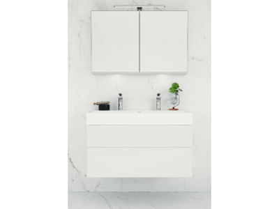 Coast - Bathroom Design Curacao | Coast | Width: 100 cm | Color: A81 Acryllic White gloss | Type: F tipmatic push-to-open